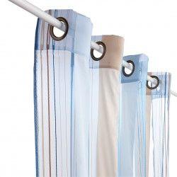 rideau voilage rayure bleu 140x260 rideau pinterest. Black Bedroom Furniture Sets. Home Design Ideas