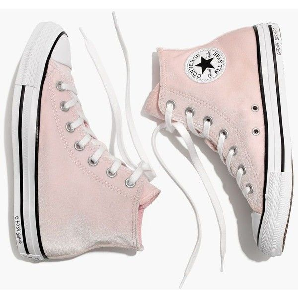 MADEWELL Converse® Chuck Taylor All Star High-Top Sneakers in Velvet ($65) ❤ liked on Polyvore featuring shoes, sneakers, arctic pink, madewell, velvet high top sneakers, high top trainers, high-top sneakers and pink high top sneakers