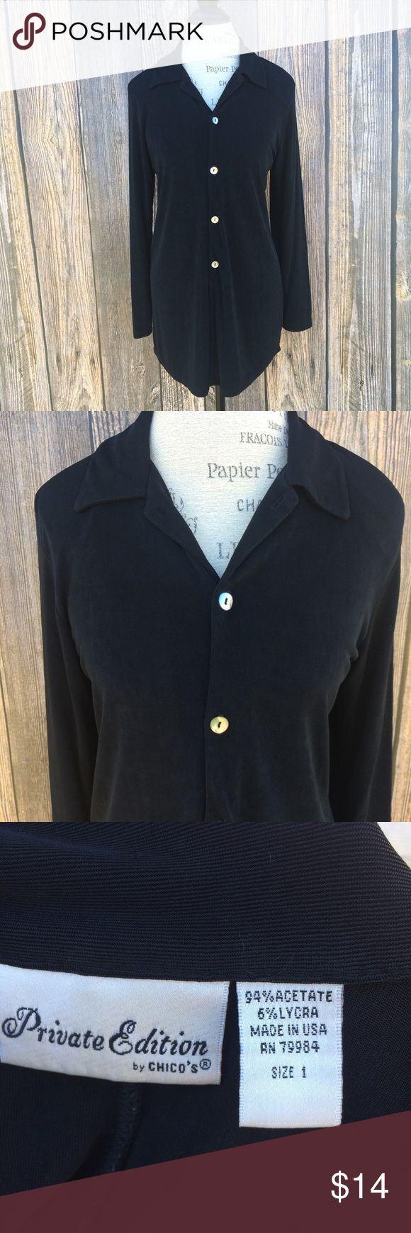 """Chico's Private Edition wrinkle free top / tunic Chico's Private Edition wrinkle free button up top / tunic. Perfect for traveling. According to Chico's chart this would be a size small (8-10)  🌺 Bundle deals offered. Check out my closet for a variety of sizes/brands 🌺 No trades, holds or modeling 🌺 All reasonable offers accepted only through the """"offer"""" button. Please no lowball offers. Please submit offer you are willing to pay, as I prefer not to counteroffer.  🌺 God Bless Chico's…"""