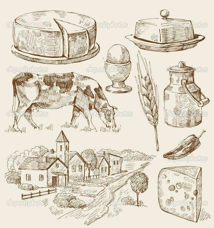 Yükle - Gıda ile köy evleri kroki — Stok İllüstrasyon #10214952