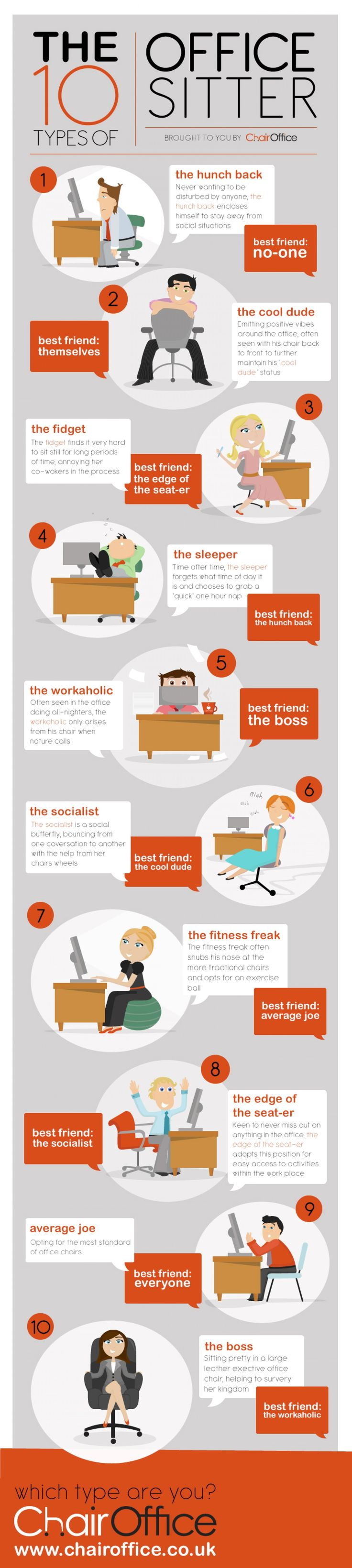 The 10 types Of Office Sitter #Infographic #Office #WorkPlace