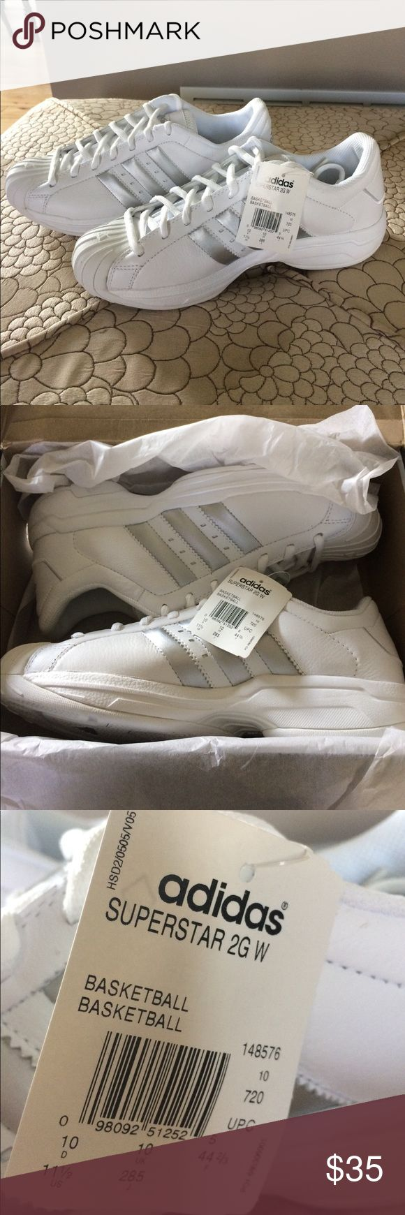 New Adidas Superstar basketball shoes Never worn white with silver stripe basketball or running shoes. Adidas Shoes Athletic Shoes