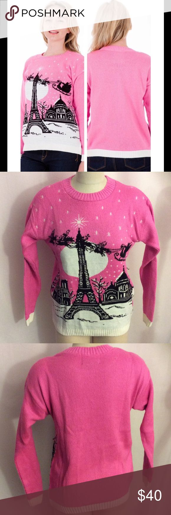 """NWOT Christmas n Paris PInk Sweater Size Small NWOT Christmas in Paris PInk Sweater Small Runs Big  - Womens Christmas Jumper  They say Paris in the Spring is the height of romance – well Paris in the winter is just as beautiful. With Santa riding his sleigh over the city streets, this jumper has more than meets the eye. Not your typical funny Christmas jumper – this oozes casual Parisian style in a beautiful pink.  Made in Great Britain, Designed in Great Britain 80% Acrylic / 20% Nylon 38""""…"""