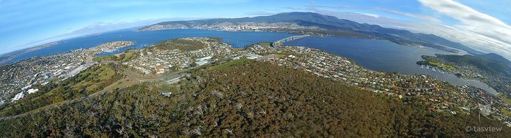 A stiched panorama of Hobart, Tasman Bridge and River Derwent from Gordon's Hill.