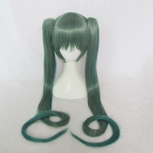 (28.38$)  Watch now - http://ai68y.worlditems.win/all/product.php?id=1688509161 - Vocaloid Miku Green 2*120cm Double Ponytails Chip On Synthetic Cosplay Costume Wig