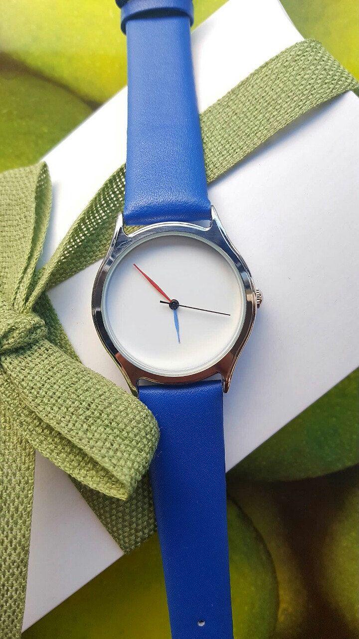Minimalist Blue Watch, Hand-Painted Orange & Blue Hands, Statement Watch, Handmade Watch, Unique Watch, Birthday Gift, Women's Jewellery. by IrishFashionWatches on Etsy