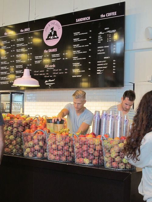 Joe & the Juice is a chain of stylish cafes that sell juice, sandwiches, and coffee; it began in Denmark and has now spread to other countries.