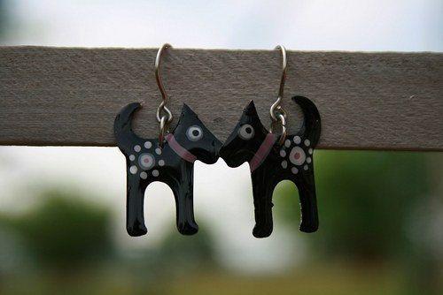 Cute Black Dog Earrings, handpainted stainless steel earrings, cute dog earrings, enamel earrings