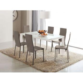 Tavolo in metallo con piano in vetro 90x160cm, allungabile (751) | Sediarreda