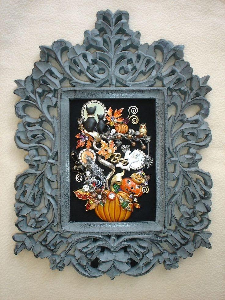 Vintage rhinestone jewelry framed halloween pin tree art ...