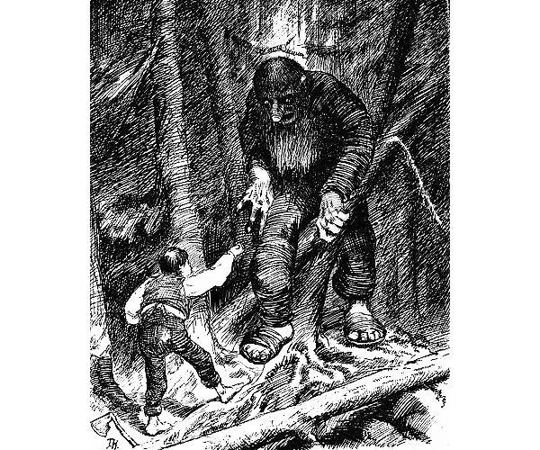Illustrasjon til Askeladden som kappåt med trollet.