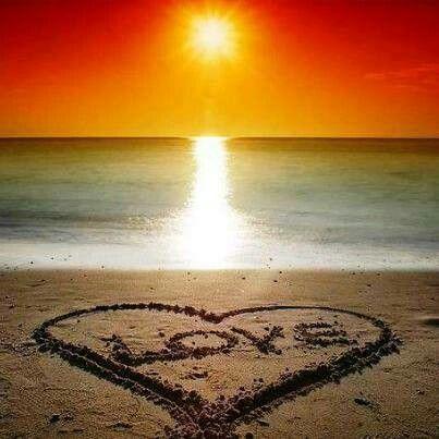 ocean love, colorful sunset