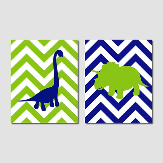 Navy Green Dinosaur Nature Silhouette Chevron Zigzag Boy Artwork Set of 2 Prints Wall Decor Art Crib Modern Nursery Picture Bedding Bathroom...