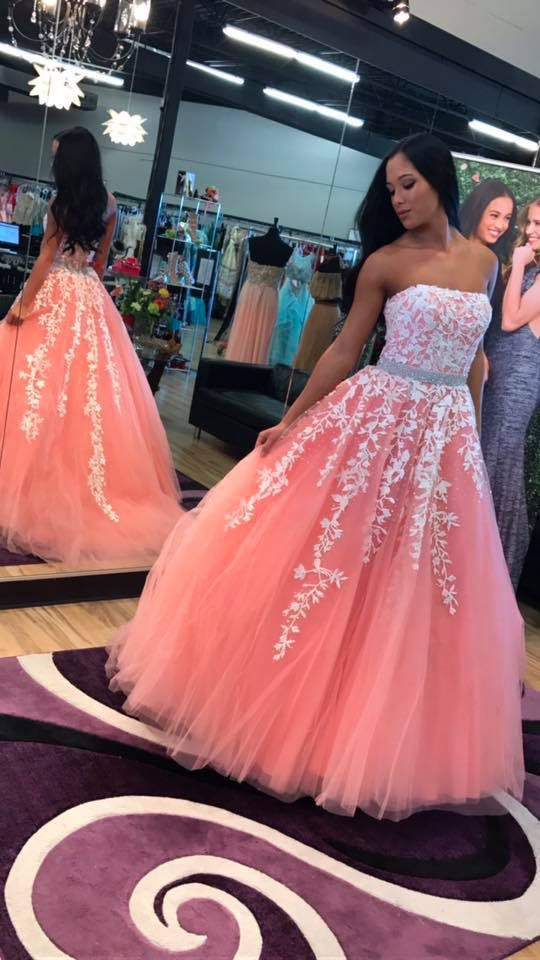 169 USD.Long Strapless Prom Dresses,Coral Tulle Prom Dresses with Wihte Appliques,Long Party Dress for Juniors,Long Graduation Dresses