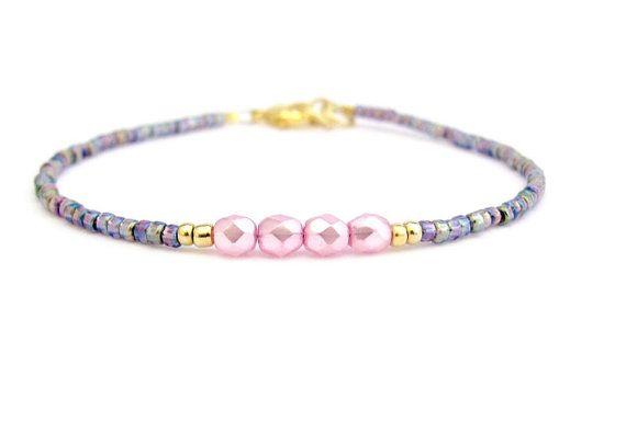 Roze vriendschap armband zaad parel armband, Amethyst Friendship Bracelet, zomer sieraden, roze parels, Zen Yoga armband, bruidsmeisje bruid