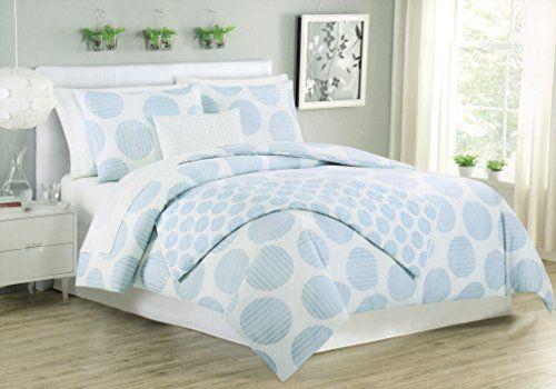 Light blue and white bedding max studio 3pc king duvet cover set large