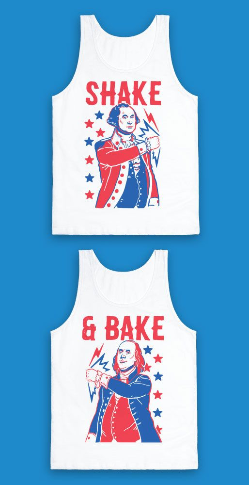 These funny fourth of July shirts are great for history lovers and best friends who just wanna shake and bake like George Washington and Benjamin Franklin. These funny best friends shirts are perfect for fans of USA shirts, patriotic shirts, the 4th of July, or your next summer cookout. Merica!
