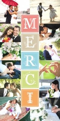 Carte de remerciement mariage Pêle-mêle mosaïque de 12 photos et le mot merci écrit de toutes les couleurs