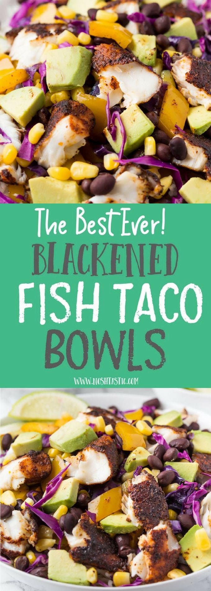 Healthy fresh gluten free blackened Fish Taco Bowls recipe! With made from scratch blackening spices. Cook it in minutes and serve over rice with generous helpings of Avocado, Black Beans and fresh ve