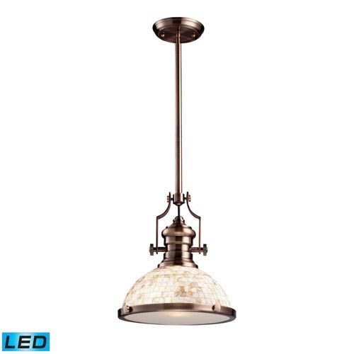 Chadwick Cappa Shell and Antique Copper LED One Light Pendant