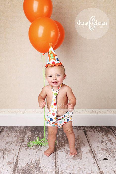 3 piece party set hat diaper cover necktie 1st bday