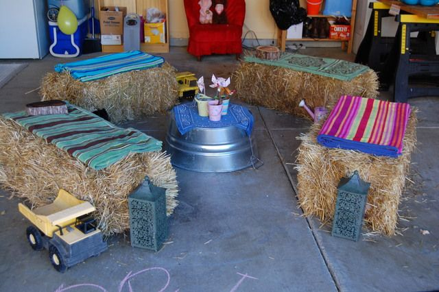 Possible seating idea and decoration for the party.     Cowgirl Birthday Party Decor #cowgirl #party