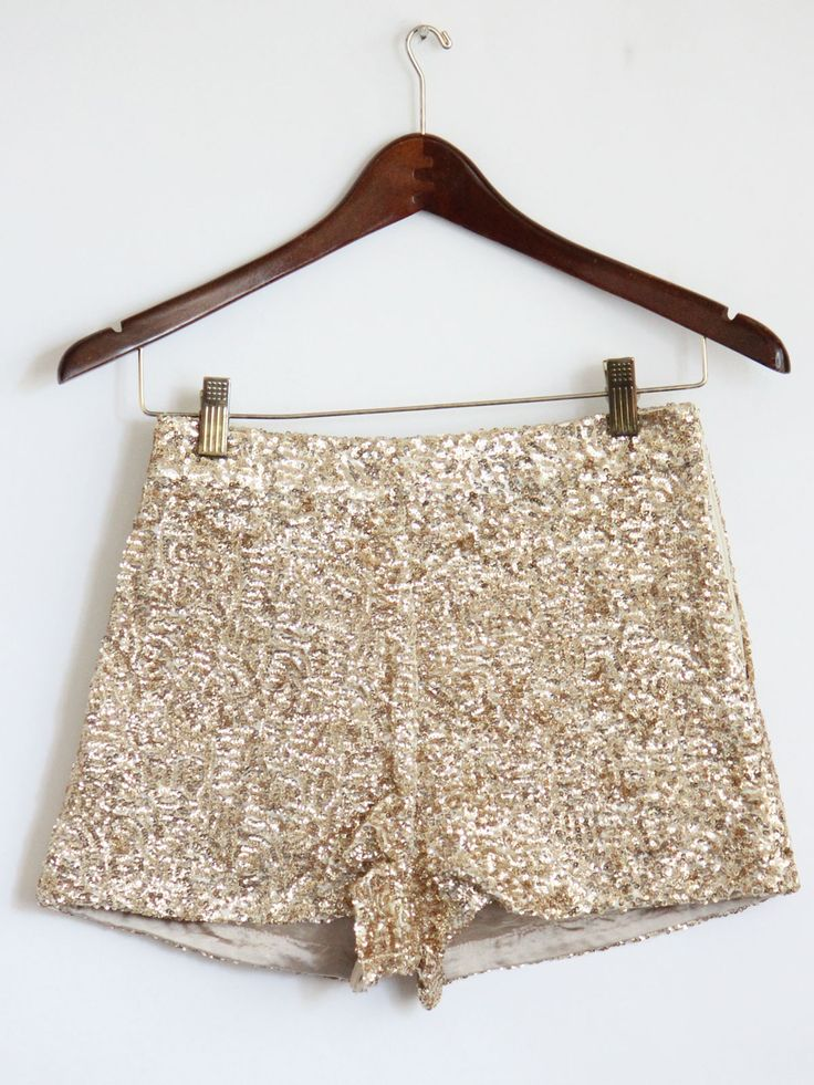 mickeysgirl.com high waist gold sequin shorts- $40 Pwretty