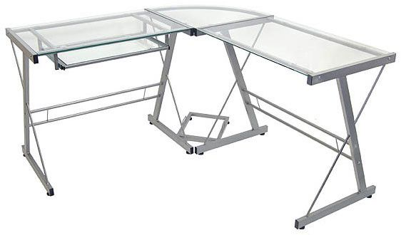 "3-Piece Glass Corner Desk - Silver Frame (Silver/Clear) (29""H x 51""W x 51""D)"