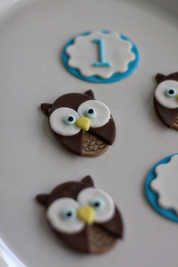 Fondant Owl and Age or Monogram Toppers for by parkersflourpatch, $20.00