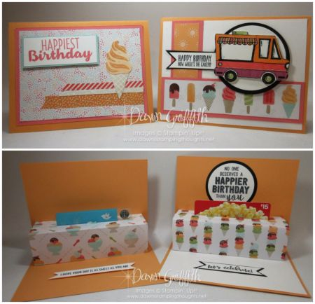 Hi Stampers, Today we are making this awesome birthday card . Inside this cute card is where even more fun happens . It's a pop up, which hold s a gift card  How cute is that ? I had a Christmas versi