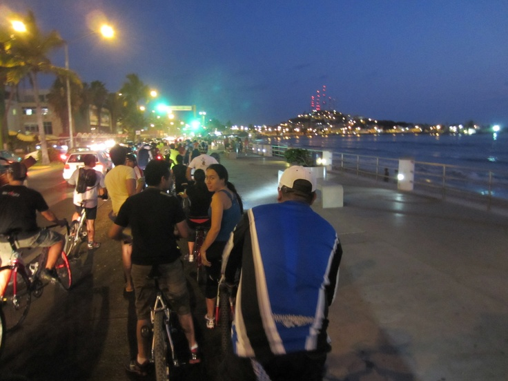 CicloNoche or Bicycle Night, Mazatlán Sinaloa, along the oceanside boardwalk