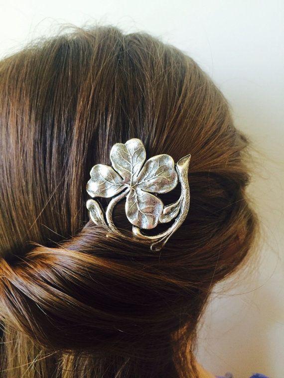Silver Irish Shamrock Bobby Pin Bridal Hair by TressTemptress