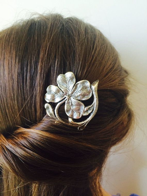 ON SALE Silver Irish Clover Hair Comb Irish by TressTemptress