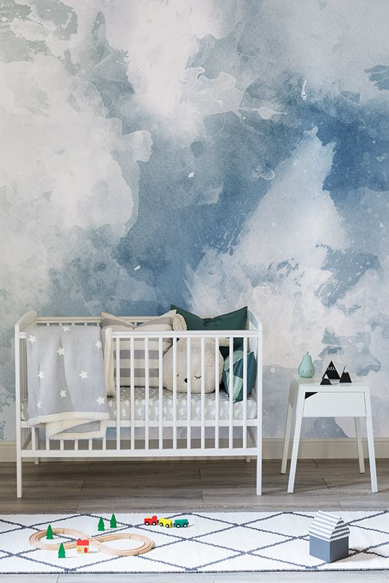Blue & White Grunge Paint Watercolor Mural | Детские, Дом ...