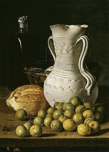 Melendez , Luis Egidio (Spanish, 1716–1780) -- Натюрморт с хлебом и кувшином, 1760, 47,8 см x 34,6 см, холст, масло