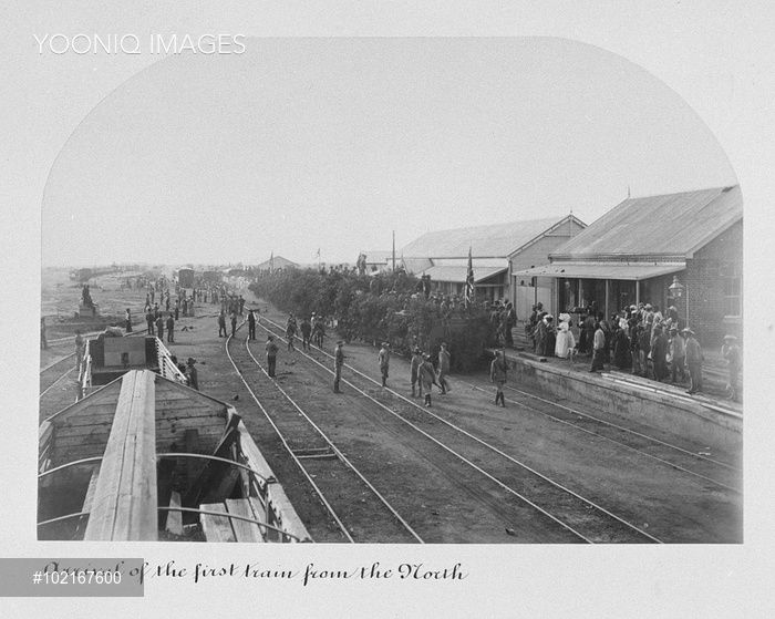 Mafeking railway station welcomes the first train from the north. A photograph from an album documenting the siege of Mafeking during the Boer War. The siege took place at the town of Mafeking (now Mafikeng) in South Africa over a period of 217 days, from October 1899 to May 1900, and turned Robert Baden-Powell, who went on to found the Scouting Movement, into a national hero.