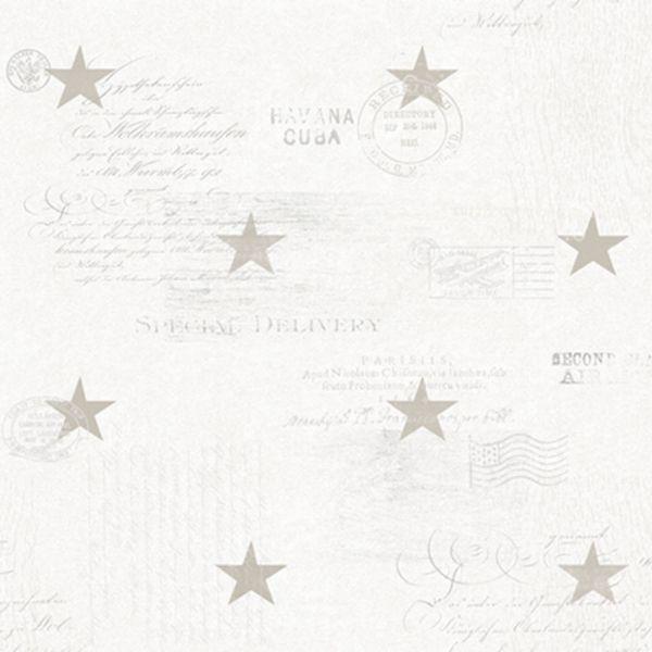 Stjärnor och text i marin stil från kollektionen Hav & Land 49334. Klicka för att se fler härliga tapeter för ditt hem!