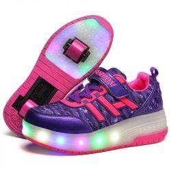 Tenis Tipo Patins Skate com Duas 2 Rodinhas e LED Luzinha Luminoso Criança Menina ou Menino