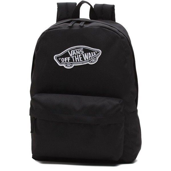Vans Realm Backpack ($35) ❤ liked on Polyvore featuring bags, backpacks, black, polyester backpack, knapsack bag, rucksack bags, backpack bags and pocket bag
