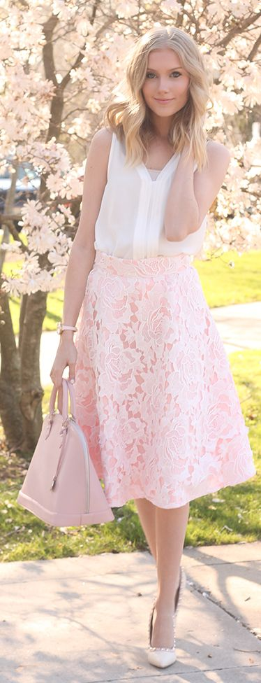 Nude Lace Midi Skirt Romantic Style women fashion outfit clothing style apparel @roressclothes closet ideas