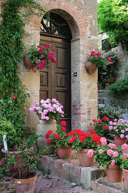Flowered Montechiello Door. Tuscany, Italy