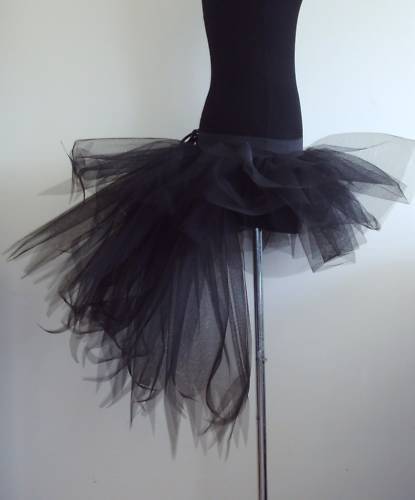 BlaCK Burlesque Moulin Rouge Bustle TUTU Skirt 6 8 10 12 FANCY DRESS
