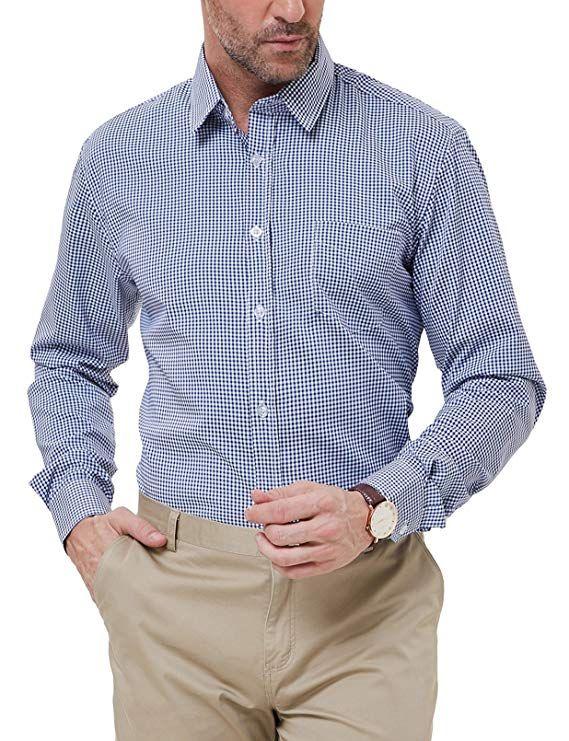 9b2770f2 PAUL JONES Men's Modern Fit Checkered Shirt Gingham Plaid Dress Shirt at  Amazon Men's Clothing store