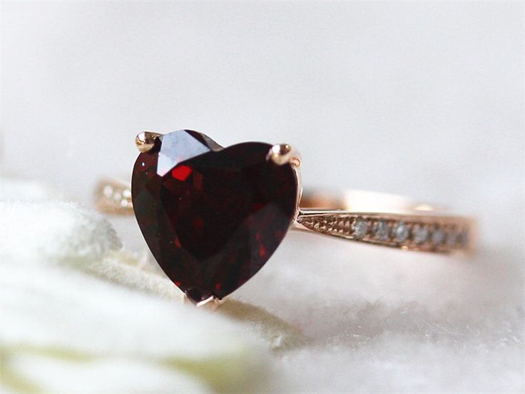14K Rose Gold 8mm Heart Garnet Ring Red Colored Stone Ring Gemstone Wedding  Engagement Ring Birth Stone Ring Promise Ring by InOurStar on Etsy https://www.etsy.com/listing/211495075/14k-rose-gold-8mm-heart-garnet-ring-red
