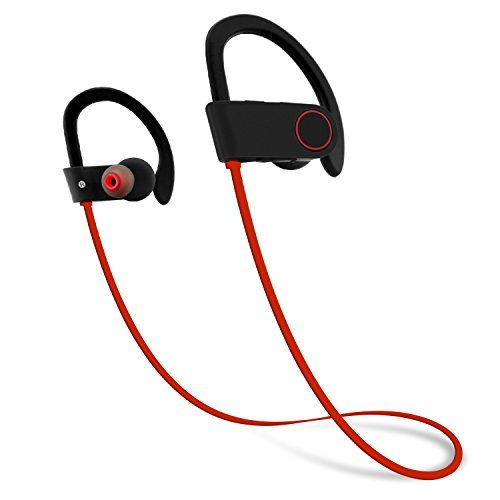 Firstop Bluetooth Headphones, IPX7 Waterproof Wireless Earphones, Noise Cancelling Earbuds Secure Fit for Sport, Gym with Built-in Mic, HD Sound with Bass,Long Battery Life for iPhone Android(Red) - IPX7 Waterproof Protection Firstop Bluetooth Earphones U9 with lastest IPX7 sweatproof rating prevent the headphones damaged from oridinary splashing water or run in the rain or shower or swimming or sweat-proof in the gym to enjoy the music or phone communication Superior HD Sound Quality…