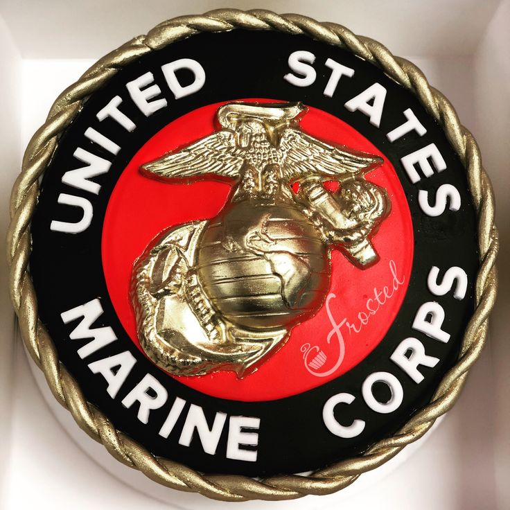 "10"" fondant Marine Corps Retirement Cake with white"