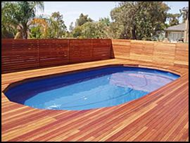 deck with a pool