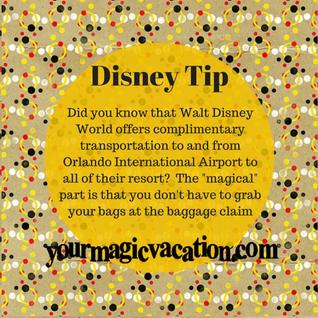 Did you know that Walt Disney World offers complimentary transportation to and from Orlando International Airport to all of their resort? #DisneyTip