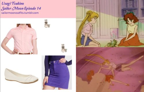 Like Sailor Moon Outfits on Facebook! American Apparel stretch bull denim high-waist slim skirt in Purple American Apparel pinpoint oxford short sleeve button up shirt in Oxford Coral Spring Hasson flat in White Forever 21 sparkling bunny earrings in Silver/Clear