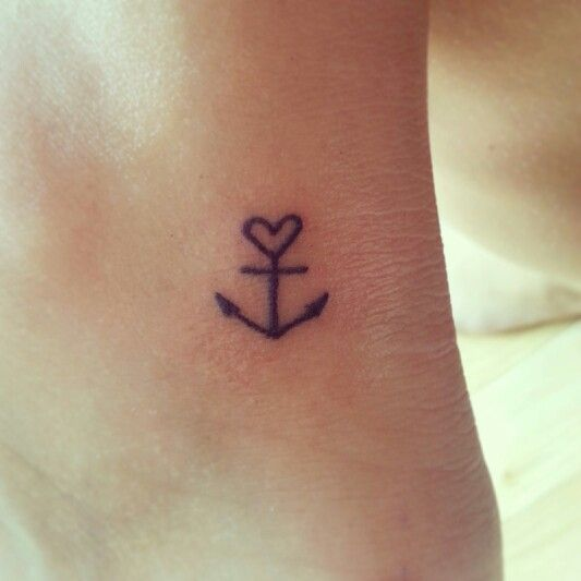 anchor heart ankle tattoo